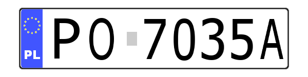 Number plate urban district